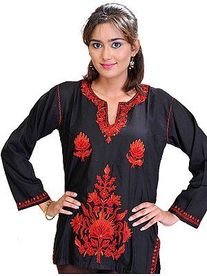 Jet-Black Kashmiri Kurti with Ari Hand-Embroidered Flowers