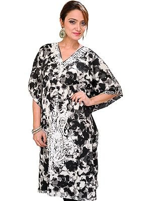 Black and White Batik-Dyed Kashmiri Short Kaftan with Ari Embroidered Paisleys and Waist Sash