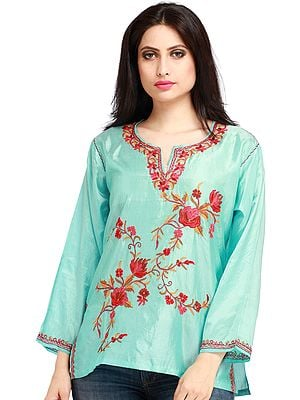 Aqua-Sky Short Kashmiri Kurti with Embroidered Flowers by Hand