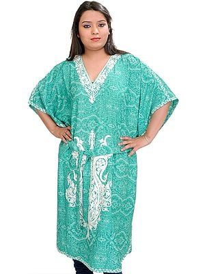 Emerald-Green Kashmiri Short Kaftan with Floral Prints and Waist Sash
