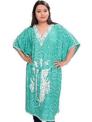 Emerald-Green Kashmiri Short Kaftan with Floral Prints and Waist Sash