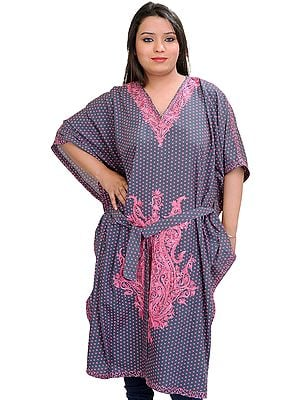 Gray and Pink Kashmiri Short Kaftan with Printed Bootis and Waist Sash