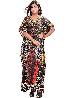 Multi-Color Long Batik Printed Kaftan with Dori at Waist
