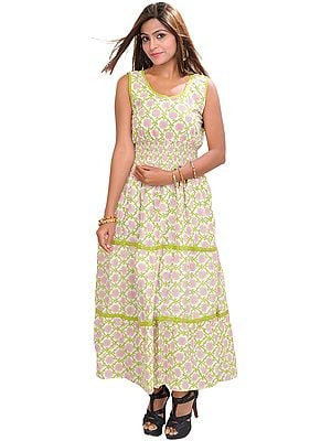 Bright-White Barbie Maxi-Dress with Floral Print