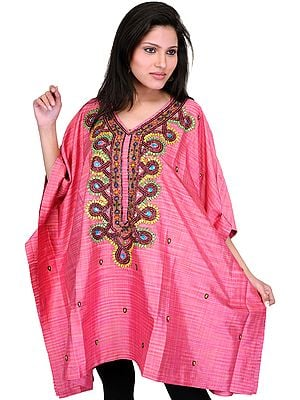 Bubblegum-Pink Short Kashmiri Kaftan with Hand-Embroidered Beads