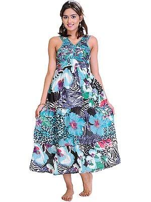 Angel-Blue Floral Printed Barbie Dress
