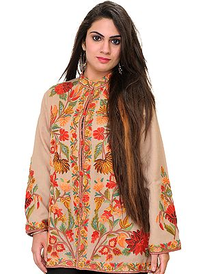 Gray-Morn Kashmiri Jacket with Ari Embroidered Flowers by Hand