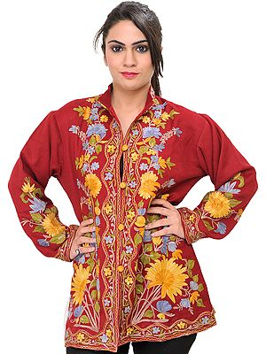 Garnet-Red Kashmiri Jacket with Ari Embroidered Large Flowers