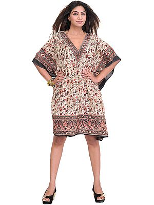 Kaftan with Printed Paisleys and Dori at Waist