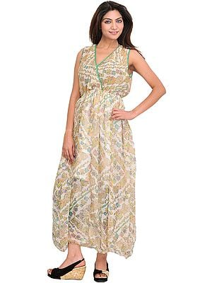 Snow-White Summer Dress with Printed Paisleys and Waist Sash
