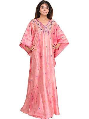 Batik-dyed Blossom-Pink Kashmiri Kaftan with Embroidered Beads