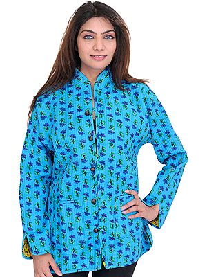 Cyan-Blue Reversible Jacket from Pilkhuwa with Straight Stitch and Printed Flowers