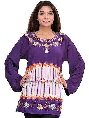Petunia-Purple Kurti with Batik Print and Thread Work