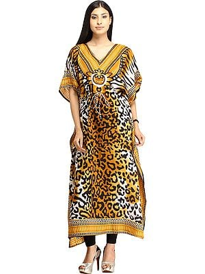 Long Kaftan with Printed Tiger-stripes and Dori at Waist
