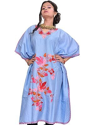 Placid-Blue Kashmiri Short Kaftan with Ari Embroidered Maple Leaves