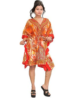 Floral Printed Short Kaftan with Dori at Waist