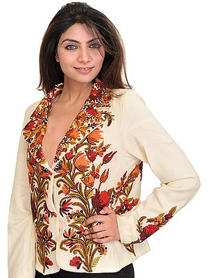 Winter-White Kashmiri Short Jacket with Ari Hand-Embroidered Flowers