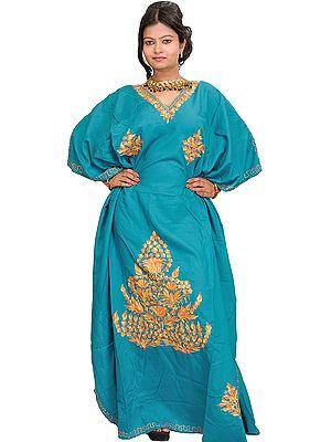 Lake-Blue Kashmiri Kaftan with Ari Embroidery