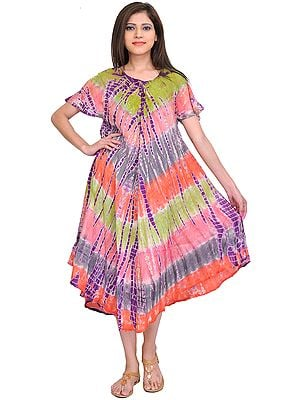 Multicolor Batik Printed Dress with Dori on Neck