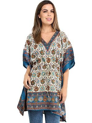 Short Kaftan with Printed Paisleys and Dori at Waist