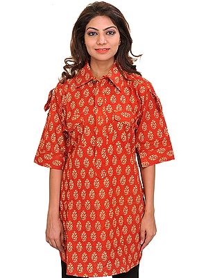 Block-Printed Kurti from Pilkhuwa with Front Pockets