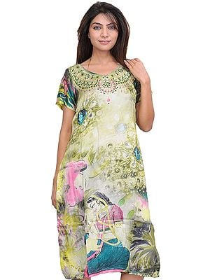 Lily-Green Digital Printed Ragini Kurti