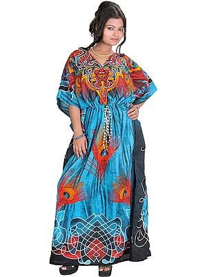 Kaftan with Printed Peacock Feathers and Dori at Waist