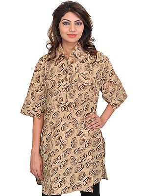 Block-Printed Kurti with Collar Neck and Front Pockets