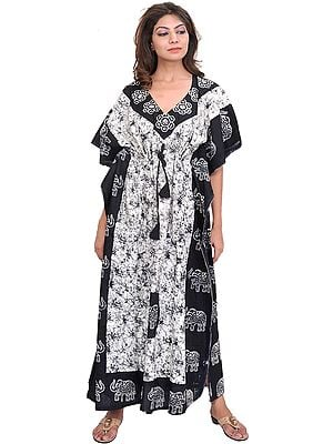 Black and White Batik-Dyed Kaftan with Printed Elephants