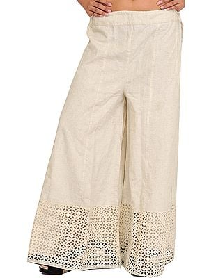 Antique-White Handspun Charkha Cotton Palazzo Pants with Crochet Border