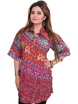 Kurti from Pilkhuwa with Printed Elephants and Collar Neck