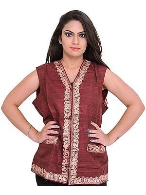 Oxbool-Red Waistcoat from Kashmir with Ari Embroidered Paisleys and Front Pockets