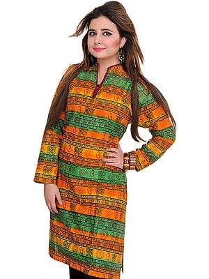 Tri-Color Kurti with Printed Om and Ritual Motifs