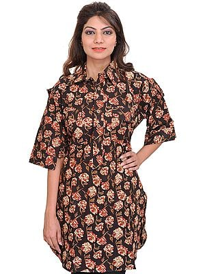 Licorice-Black Kurti from Pilkhuwa with Block-Printed Flowers and Front Pockets