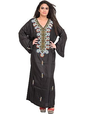 Jet-Black Kashmiri Kaftan with Embroidered Beads and Stone-Work
