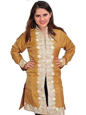 Mustard-Gold Jacket from Kashmir with Ari-Embroidered Paisleys on Border