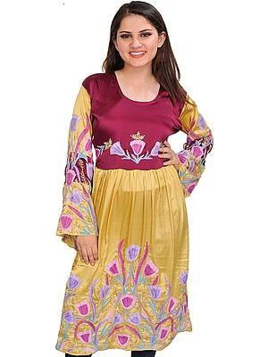 Magenta-Purple and Golden Dress from Kashmir with Ari-Embroidered Flowers