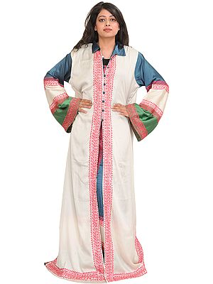 Tri-Color Two-Piece Long Gown from Kashmir with Ari-Embroidery