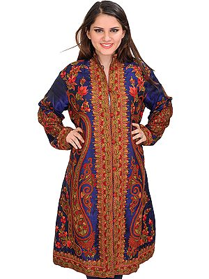 Twilight-Blue Long Jacket from Kashmir with Ari-Embroidered Paisleys by Hand