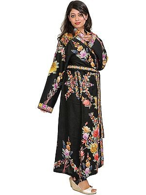Jet-Black Night-Gown from Kashmir with Floral Ari-Embroidery in Multicolor Thread