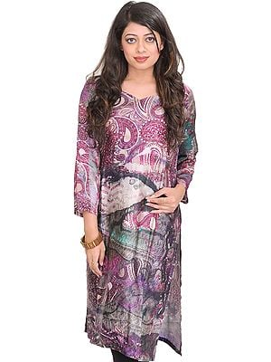 Amaranth-Purple Kurti with Digital-Printed Paisleys