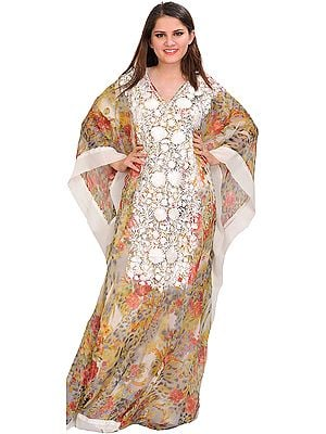Multicolor Two-Piece Kaftan from Kashmir with Printed Flowers and Ari-Embroidery