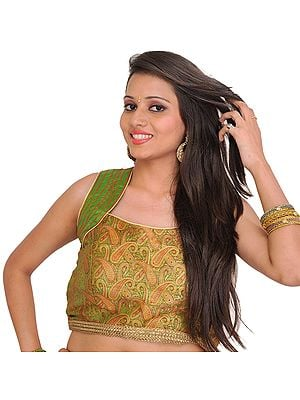Cactus-Green Sleeveless Brocaded Choli from Banaras with Woven Paisleys and Gota Border