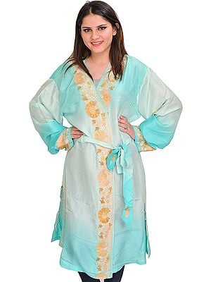 Moonlight-Jade and Aqua Double Shaded Short-Robe from Kashmir with Ari Embroidery on Border