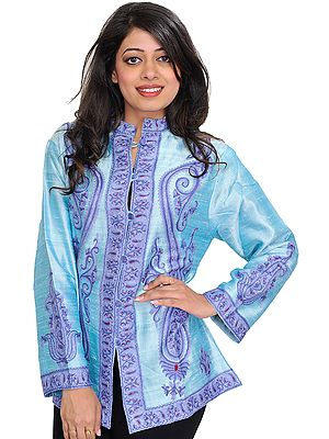 Bleached-Aqua Jacket from Kashmir with Ari Hand-Embroidered Paisleys