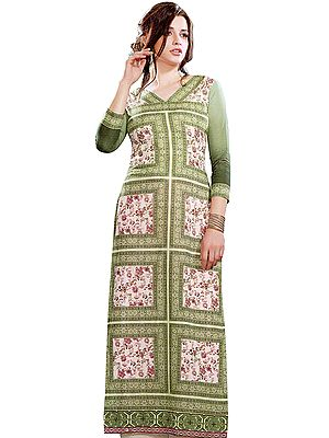 Long Kurti with Printed Flowers and Embroidered Patch Border