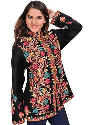 Caviar-Black Jacket from Kashmir with Ari Hand-Embroidered Tree of Life
