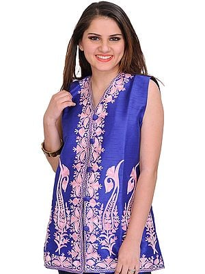Dazzling-Blue Waistcoat from Kashmir with Ari Embroidered Paisleys