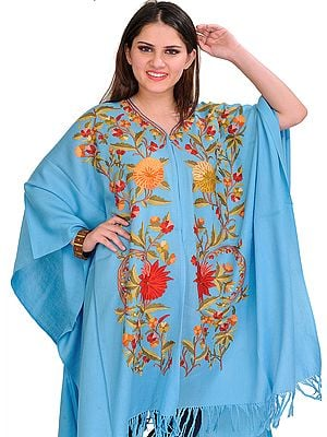 Sky-Blue Cape from Kashmir with Ari Embroidery by Hand