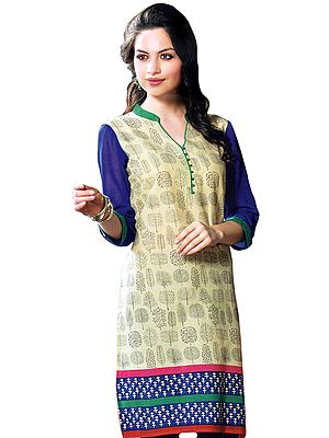 Asparagus-Green and Blue Kurti with Printed Motifs